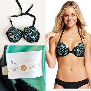 Shade & Shore Shell Pushup Halter Bikini Top